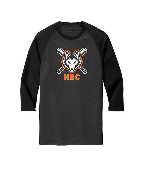 Harlem Huskies Black/ Black Frost 3/4-Sleeve Raglan Tee