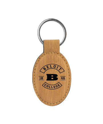 """Beloit College 3"""" x 1 3/4"""" Bamboo Leatherette Oval Keychain"""