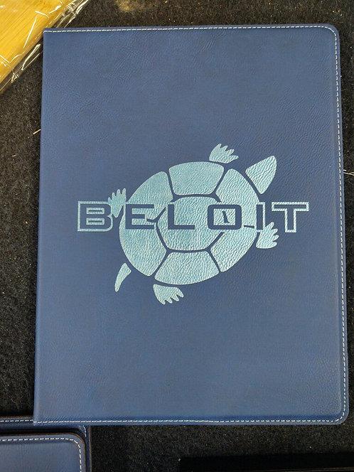 """College Store 9 1/2"""" x 12""""  Blue/Silver Leatherette Portfolio"""