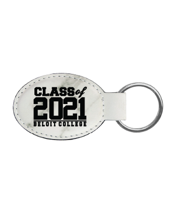 """Beloit College 3"""" x 1 3/4"""" White Marble Leatherette Oval Keychain"""