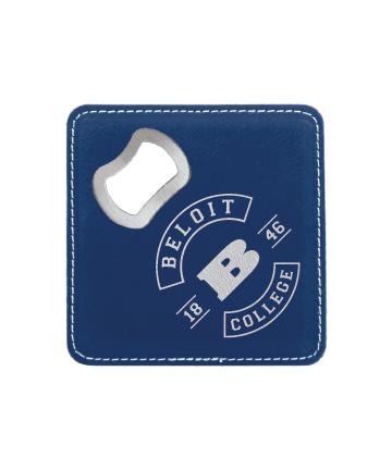 Beloit College Blue/Silver Square Coaster w/ Bottle Opener