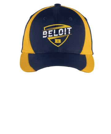 Beloit College Embroidered Navy/Gold Sport-Tek® Nylon Colorblock Cap