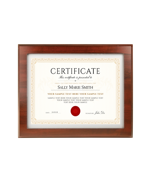"Beloit College 13""x10 1/2"" Cherry Finish Routed Certificate Holder Plaque"