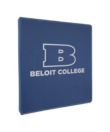 "Beloit College 10.5""x11.5"" Blue/Silver Leatherette 3 Ring Binder w/1"" Slant Ring"