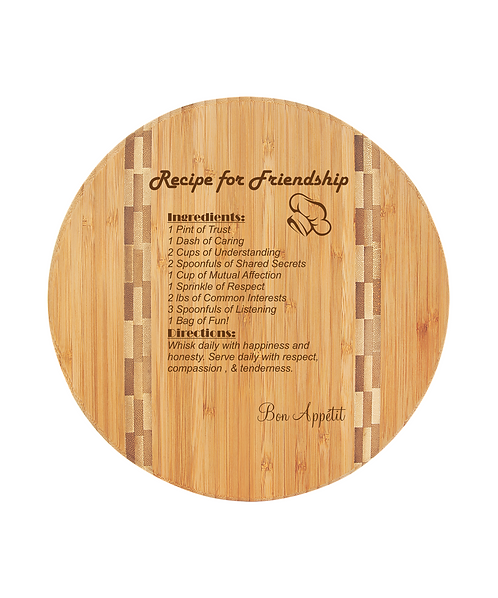"11 3/4"" Round Bamboo Cutting Board with Butcher Block Inlay"