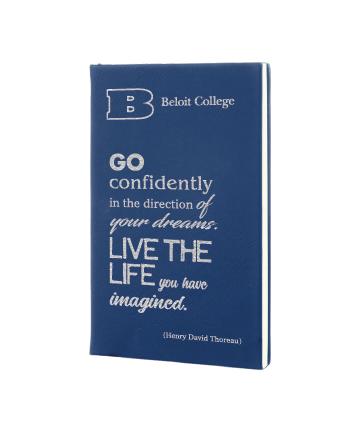 """Beloit College 5 1/4""""x8 1/4""""  Blue/Silver Leatherette Journal"""