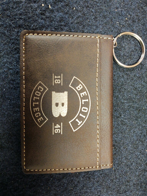 """College Store 4 1/4"""" x 3"""" Rustic/Gold Leatherette Keychain ID Holder"""