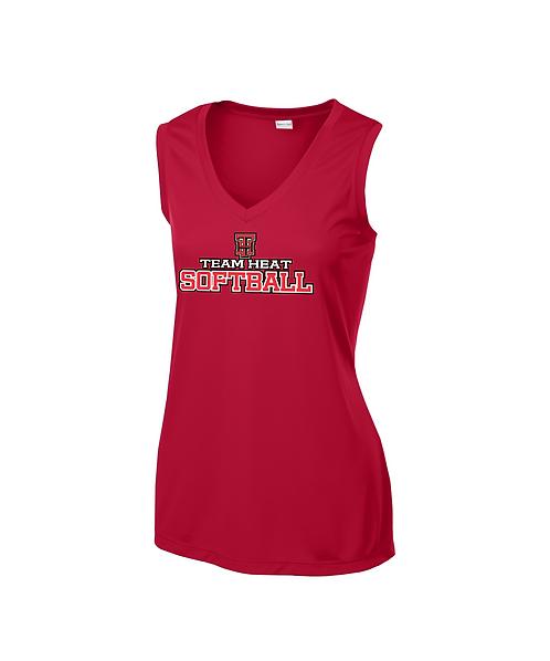 Team Heat Softball Ladies Sleeveless V-Neck Tee