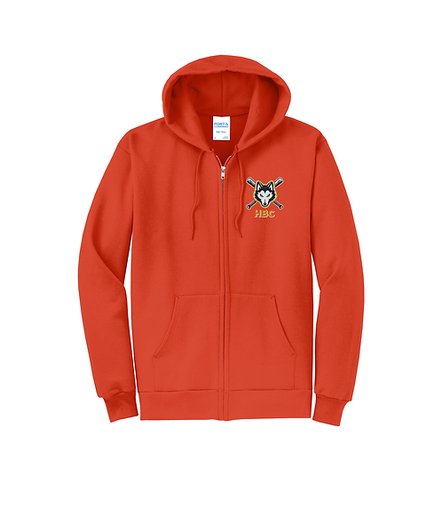 Harlem Huskies Embroidered Unisex Core Fleece Full-Zip Hooded Sweatshirt
