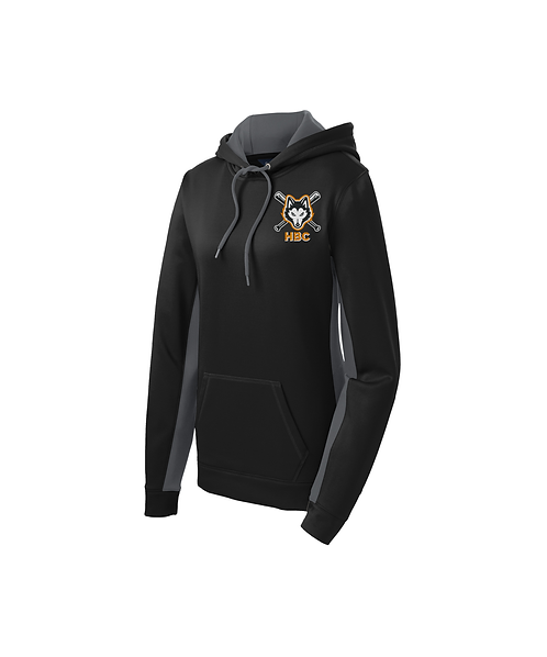Harlem Huskies Embroidered Ladies Black/Grey Hooded Pullover