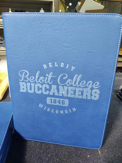 """College Store 9 1/2"""" x 12""""  Blue/Silver w/ Zipper Leatherette Portfolio"""