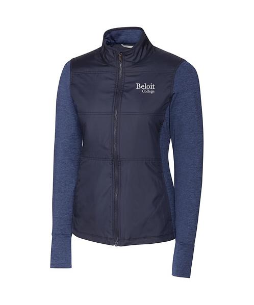 Beloit College Navy Cutter & Buck Quilted Women's Full Zip Windbreaker Jacket
