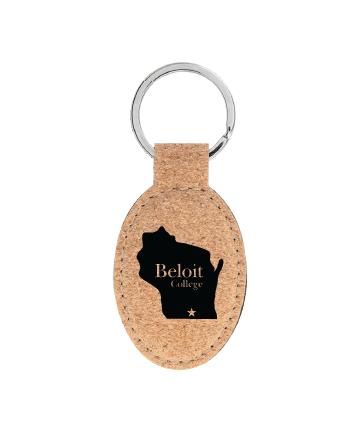 "Beloit College 3"" x 1 3/4"" Cork Oval Keychain"
