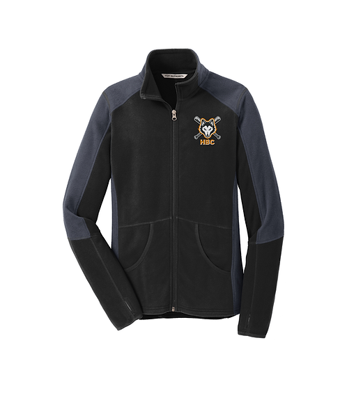 Harlem Huskies Embroidered Black/Grey Microfleece Ladies Colorblock Jacket