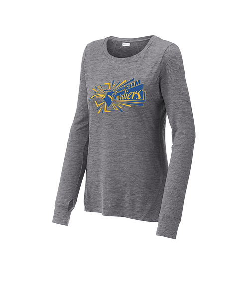 Cunningham Cavaliers Ladies Grey Heather Long Sleeve Crew