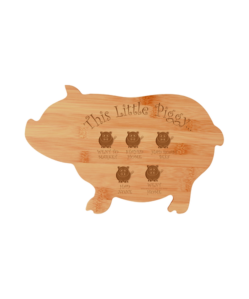 """""""This Little Piggy..."""" 13 3/4"""" x 8 3/4"""" Bamboo Pig Shaped Cutting Board"""