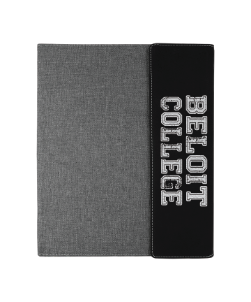 "Beloit College  9 1/2""x12"" Black/Silver Leatherette w/Gray Canvas Portfolio"