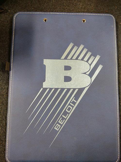 "College Store 9"" x 12 1/2"" Blue/Silver Leatherette Clipboard"
