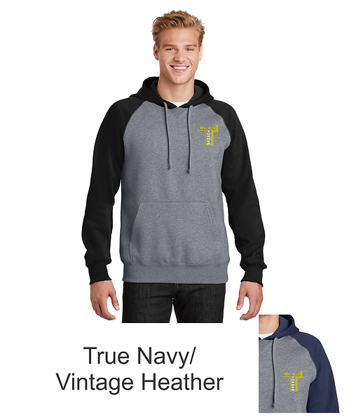 Beloit Turner Embroidered Raglan Colorblock Pullover Hooded Sweatshirt