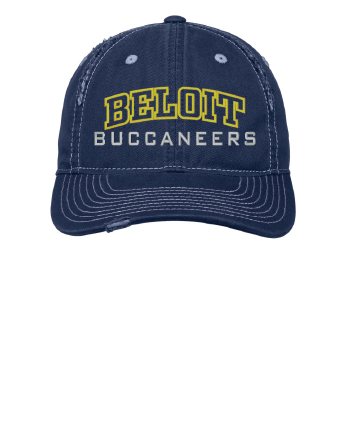 Beloit College Embroidered Navy District® Rip and Distressed Cap