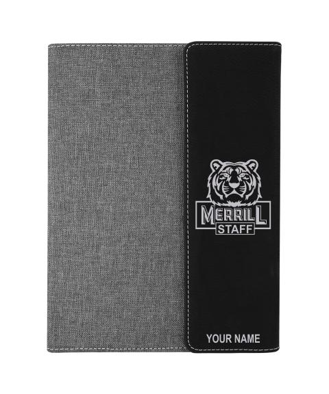 """Merrill Staff 7"""" x 9"""" Black/Silver Leatherette w/ Gray Canvas Protfolio"""