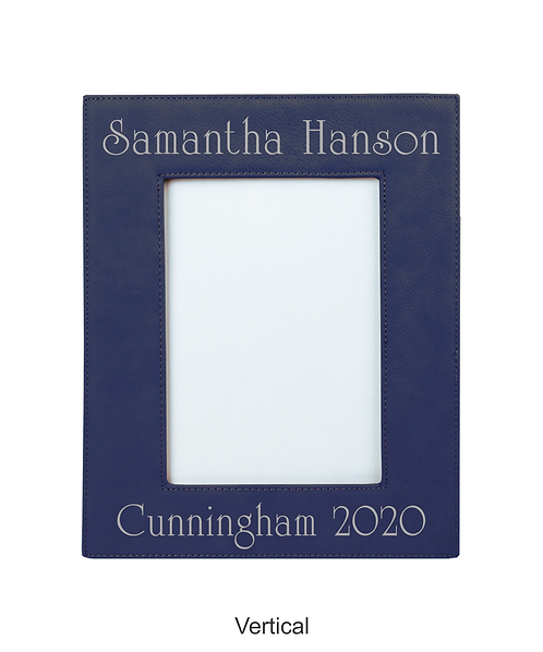 "Cunningham 4"" x 6"" Blue/Silver Laserable Leatherette Photo Frame"