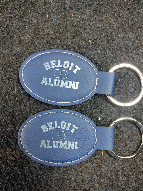 """College Store 3"""" x 1 3/4"""" Blue/Silver Laserable Leatherette Oval Keychain"""