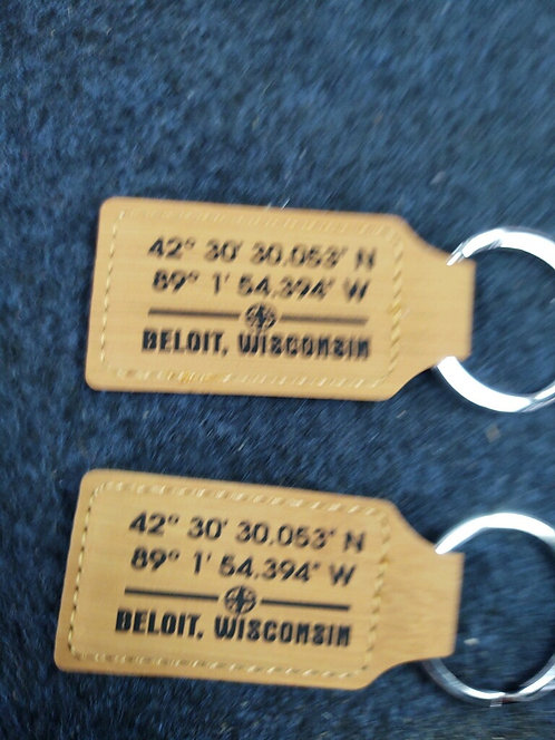 """College Store 2 3/4"""" x 1 1/4"""" Bamboo Laserable Leatherette Rectangle Keychain"""