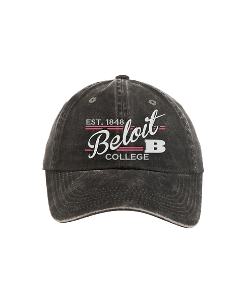 Beloit College Embroidered Black - Port Authority Ladies Garment Washed Cap