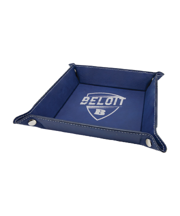 """Beloit College 6"""" x 6"""" Blue/Silver Leatherette Snap Up Tray"""