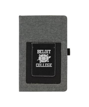 """Beloit College 5 1/4""""x8 1/4"""" Gray w/Black Leatherette Journal"""