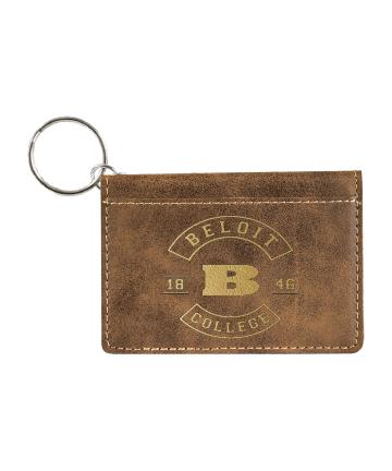 "Beloit College 4 1/4""x3"" Rustic/Gold Leatherette Keychain ID Holder"