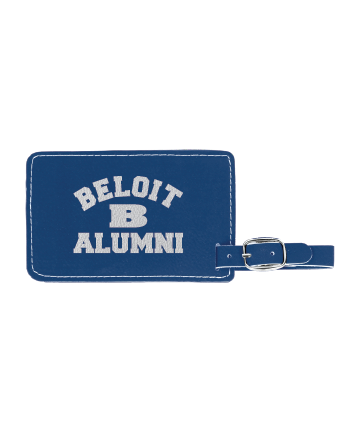 """Beloit College 4 1/4"""" x 2 3/4"""" Blue/Silver Leatherette Luggage Tag"""