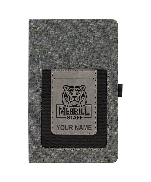 Merrill Staff Gray w/Gray Laserable Leatherette Journal with Cell/Card Slot