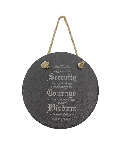 """""""God Grant Me Serenity..."""" 7"""" Round Slate Décor with Hanger String"""