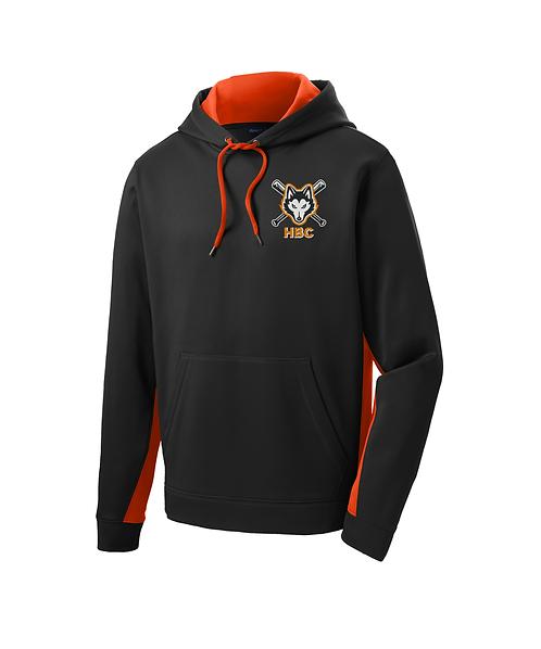Harlem Huskies Embroidered Black/Deep Orange Fleece Colorblock Hooded Pullover