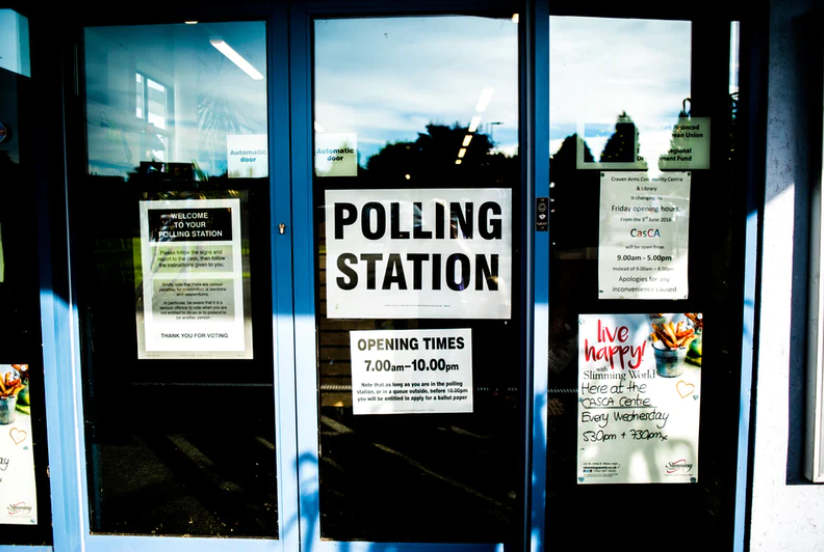 A polling station at a UK General Election