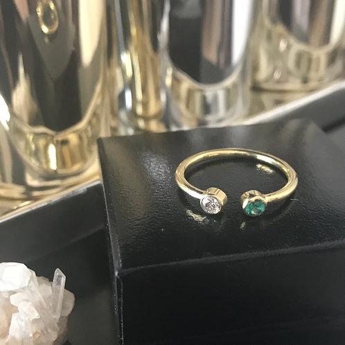 Anel Dual Brilhante e Pedra