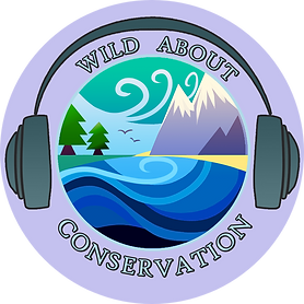 The wild about conservation logo. a sea mountain view surrounded by headphones and the text 'Wild about conservation'