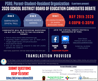 San Diego Unified School District Board of Education Candidate Debate May 29th