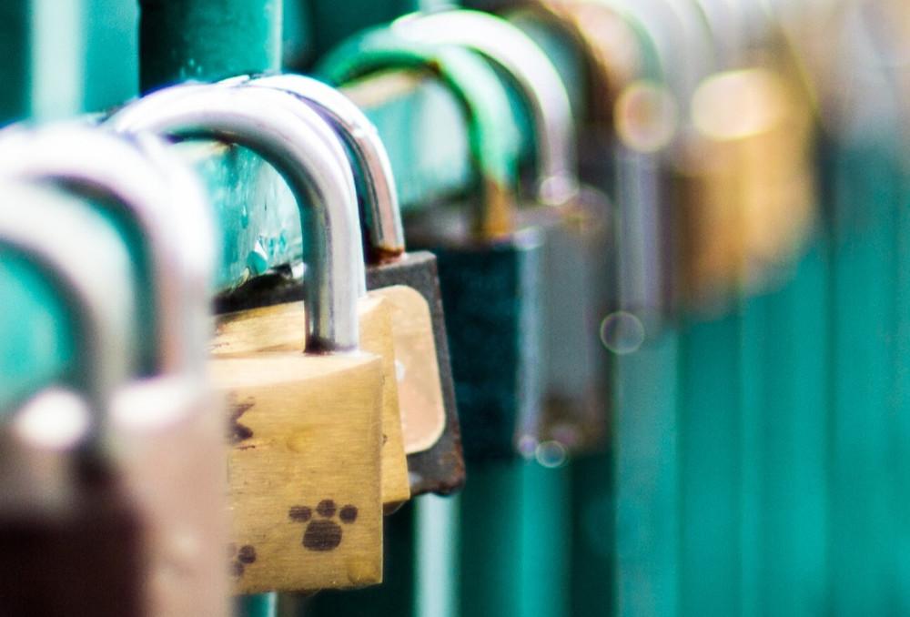 padlocks on a gate