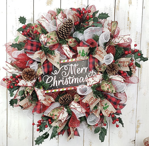 Merry Christmas Pine and Mesh Wreath
