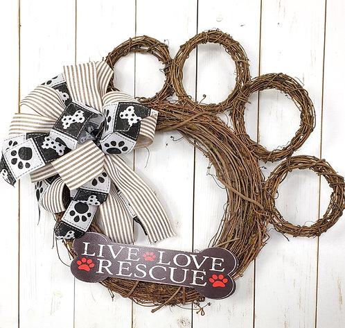 Live Love Rescue Dog Paw  Grapevine Wreath