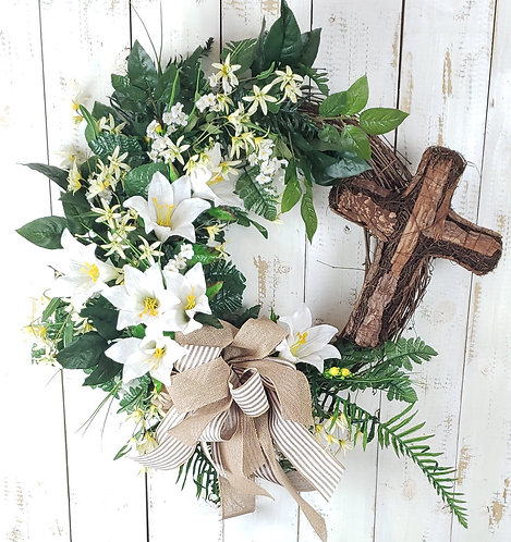 Easter Lillies and Cross