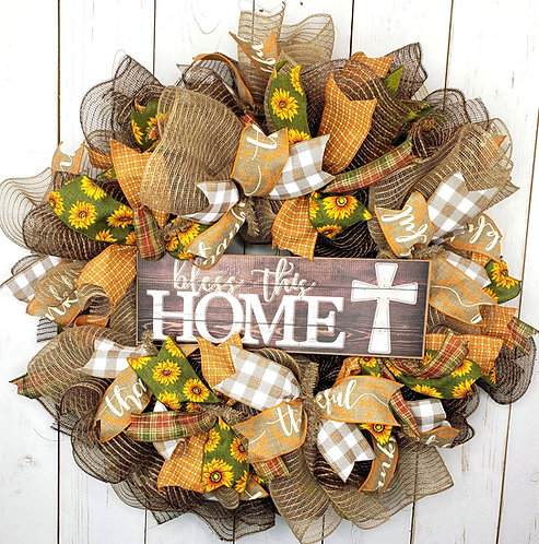 Bless this Home Mesh Wreath