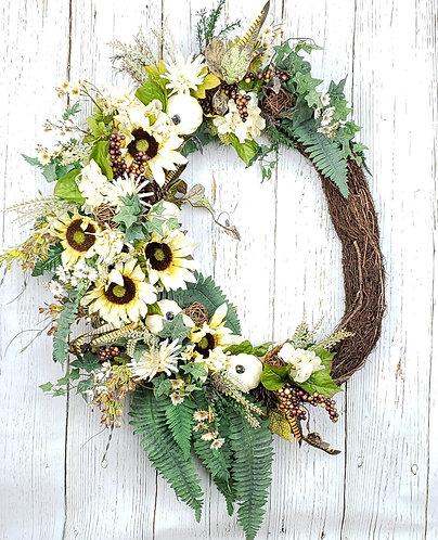 Fall Sunflower and Pumpkin Wreath