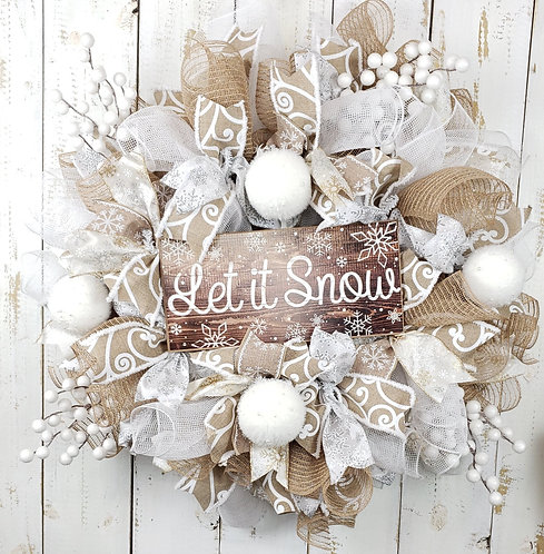 Let it Snow Winter Holiday Wreath