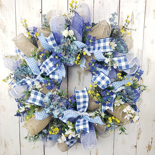 French Country Style Mesh and Floral Wreath