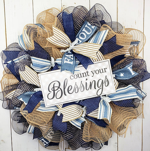 Count your Blessings Mesh Wreath