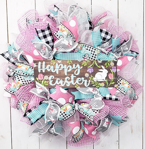 Happy Easter- Wooden bunny and floral sign